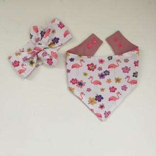Baby Set *FLAMINGO* mit Stirnband und Halstuch 2 Teile für Baby / Kind  - Handarbeit kaufen