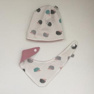 NeugeborenenSet *IGELCHEN* 2 teilig mit Halstuch und Mützchen für Baby