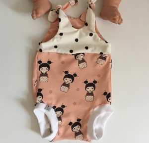 kurzer Baby Strampler Overall  ** LITTLE GEISHA**  vom zimtbienchen  ab Gr. 50 handmade
