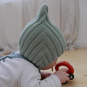 Babymütze Modell ZWERGLEIN handgestrickt von zimtbienchen ab 36cm KU  in 4 Farben