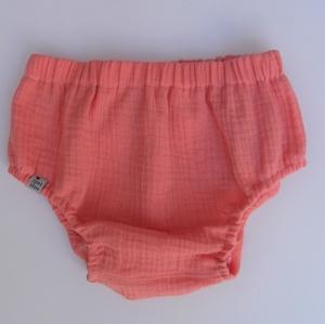 Musselin Bloomers kurze Hose lachsrosa Handarbeit Windelhöschen von zimtbienchen für Baby / Kind  - Handarbeit kaufen