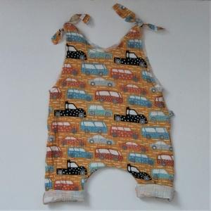 Strampler mit AUTOMOBIL aus Musselin vom zimtbienchen für Mädchen und Jungen  - Handarbeit kaufen