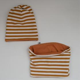 SENFGELB Wendebeanie und Schlauchschal 2-teiliges Set für Baby und Kind von zimtbienchen