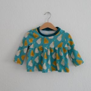Tunika BIRNCHEN Baby / Kind mit Langarm Handarbeit aus Jersey vom zimtbienchen  - Handarbeit kaufen