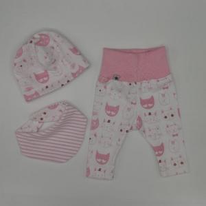KATZE 3 Teile für Neugeborene  Wendebeanie, Halstuch, Legging für Baby und Kind von zimtbienchen