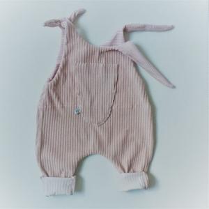 Latzhose Modell IDA nudefarben Jumper Romper aus Jersey Cord für Baby und Kind vom zimtbienchen 50/104  - Handarbeit kaufen