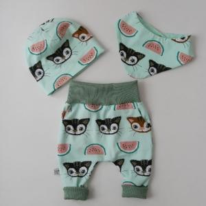 Erstlingsset MILLY MELONI 3-teilig  Wendebeanie Halstuch Pumphose für Baby BIOBaumwolle von zimtbienchen   - Handarbeit kaufen