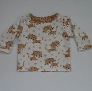 LEOPARD Baby T-Shirt mit Langarm aus BIOBaumwolle Handarbeit von zimtbienchen