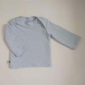 Langarm Shirt STREIFEN in Hellblau Handarbeit  zimtbienchen   - Handarbeit kaufen