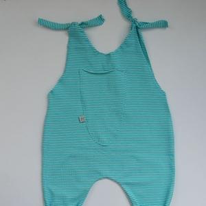 TÜRKIS  Baby Kind Jumper Romper mit Streifen vom zimtbienchen Jungen und Mädchen   - Handarbeit kaufen