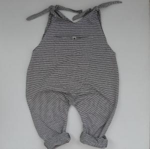SCHWARZGRAU Baby Kind Jumper Romper mit Streifen vom zimtbienchen Jungen und Mädchen  - Handarbeit kaufen