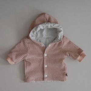 Babyjacke mit Kapuze NUDE aus CORDJERSEY von zimtbienchen Gr. 56 - 86  Baby  - Handarbeit kaufen