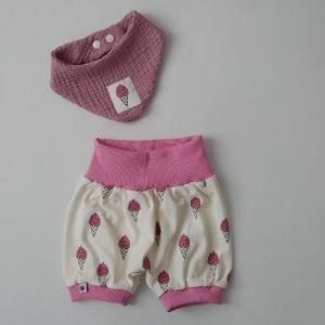 2-teilig EIS mit GLITZER  PumpHöschen mit kurzem Bein und Halstuch für Baby Größe 68/74   - Handarbeit kaufen