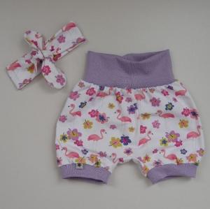 2-teilig FLAMINGO PumpHöschen mit kurzem Bein mit Stirnband für Baby Größe 68/74     - Handarbeit kaufen