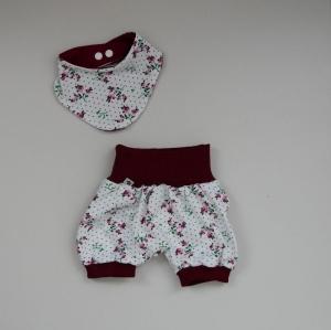 2-teilig BLÜMCHEN  PumpHöschen mit kurzem Bein und Halstuch für Baby Größe 62  - Handarbeit kaufen