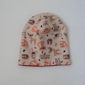 Beanie mit IGEL und REH Baby Kind Mütze zum Wenden doppellagig von zimtbienchen verschiedene Größen