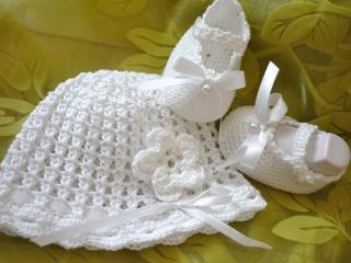 Taufset ,Babyset,weiß, Mütze & Schuhe