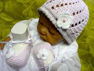 Taufset,Babyset,Taufschuhe,Taufmütze,Babyschuhe,Babymütze, Taufkleidung,Babykleidung,Babyartikel,LEA-LUISA , rosa - weiß-grau,
