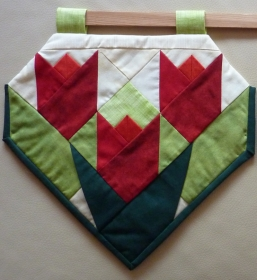♡ doppelseitige Fenstergardine mit drei gefalteten Tulpen - Handarbeit kaufen