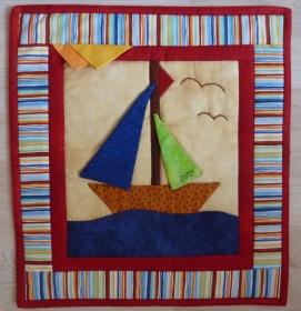 ♡ kleiner Wandbehang  Segelschiff (Sommer) - Handarbeit kaufen