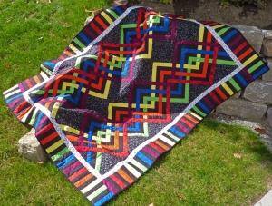 ♡ große Patchworkdecke mit modernem Muster in Regenbogenfarben - Handarbeit kaufen