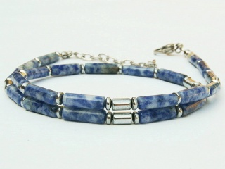 Halskette Sodalith blau und Hämatit silberfarben für Frauen und Männer - Handarbeit kaufen