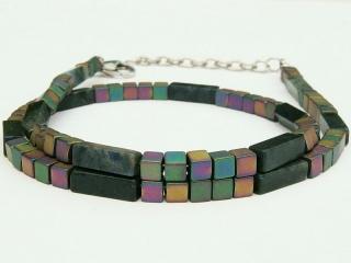Halskette Würfelkette Dumortierit blau und Hämatit bunt für Frauen und Männer  - Handarbeit kaufen