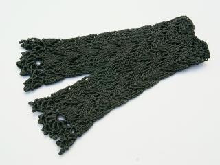 Armstulpen dunkelgrau Baumwolle handgestrickt Lochmuster filigran - Handarbeit kaufen