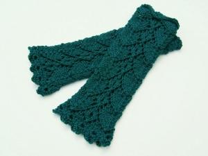 Armstulpen blaugrün petrol Wollemischung handgestrickt Lochmuster filigran  - Handarbeit kaufen