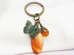 Schlüsselanhänger Schmetterling Perlmutt terracotta bronzefarben - Handarbeit kaufen