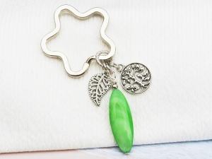 Schlüsselanhänger Baum Lebensbaum Perlmutt grün - Handarbeit kaufen