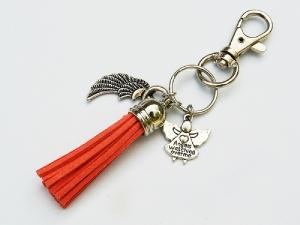 Schlüsselanhänger Glücksbringer Engel Flügel Quaste orange - Handarbeit kaufen