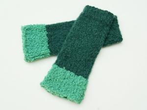 Armstulpen Pulswärmer blaugrün petrol aqua Wollemischung handgestrickt  - Handarbeit kaufen