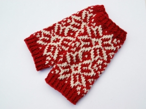 Armstulpen rot weiß Wollemischung handgestrickt Norwegermuster Sterne - Handarbeit kaufen