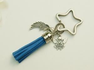 Schlüsselanhänger Glücksbringer Engel Flügel Quaste blau - Handarbeit kaufen
