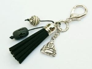 Schlüsselanhänger Taschenanhänger Glücksbringer Buddha Quaste schwarz Edelstein Onyx - Handarbeit kaufen