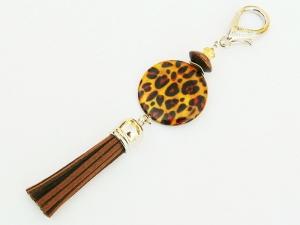 Taschenanhänger Schlüsselanhänger Safari Afrika Perlmutt Leopardenmuster Quaste braun - Handarbeit kaufen