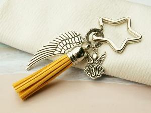 Schlüsselanhänger Taschenanhänger Glücksbringer Engel Flügel Quaste gelb - Handarbeit kaufen
