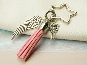 Schlüsselanhänger Glücksbringer Engel Flügel Quaste rosa - Handarbeit kaufen