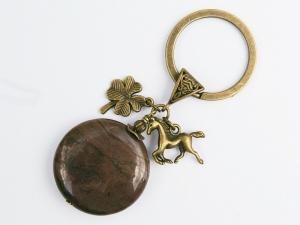 Schlüsselanhänger Pferd Klee Glücksbringer bronzefarben Edelstein Jaspis braun - Handarbeit kaufen