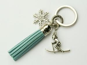 Schlüsselanhänger Winter Skifahrer Schneeflocke Quaste blau eisblau - Handarbeit kaufen