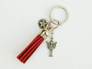 Schlüsselanhänger Glücksbringer Engel mit Herzen Quaste rot Stern - Handarbeit kaufen