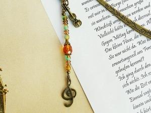 Lesezeichen Notenschlüssel Geige Violine bronzefarben Vintagestil braun grün - Handarbeit kaufen