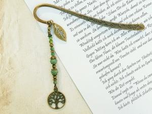 Lesezeichen Baum Lebensbaum Blatt Glücksbringer bronzefarben Vintagestil braun grün - Handarbeit kaufen