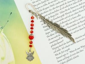Lesezeichen Engel Flügel Engelsflügel Glücksbringer Metall rot orange