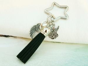 Schlüsselanhänger Taschenanhänger Glücksbringer Engel Flügel Engelsflügel Quaste schwarz - Handarbeit kaufen