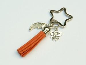Schlüsselanhänger Taschenanhänger Glücksbringer Engel Flügel Engelsflügel Quaste orange - Handarbeit kaufen