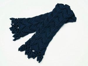Armstulpen dunkelblau blau Baumwolle handgestrickt Lochmuster filigran  - Handarbeit kaufen