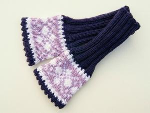 Armstulpen aubergine flieder weiß Wollemischung handgestrickt Norweger  - Handarbeit kaufen