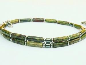 Halskette Jaspis oliv und Hämatit für Frauen und Männer  - Handarbeit kaufen